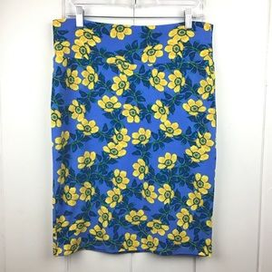LulaRoe Blue Cassie Pencil Skirt, Yellow Flowers L